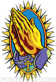Almera Praying Hands Sticker Image
