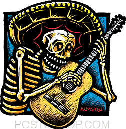 Almera Guitarro Sticker by Poster Pop. Mexican Day of the Dead Skeleton Skull with Sombrero Playing Guitar. Posada Art