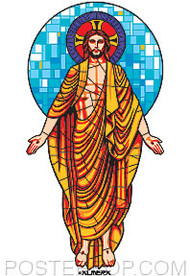Almera Stained Glass Jesus Sticker Image