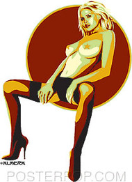 Almera Seated Babe Sticker Image