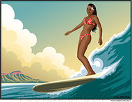 Almera Hawaiian Surfer Girl Sticker Image