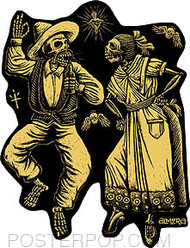 Artist Marco Almera Muertos Car Sticker Decal by Poster Pop. Mexican Day of the Dead Dancing Skeleton Man and Woman in Traditional Costume Dress with Sacred Heart. Like Posada.