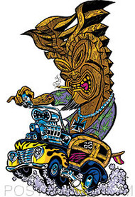 Pizz Hot Rod Tiki Sticker Image