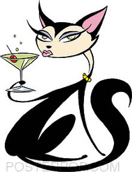 Pizz Martini Cat Sticker Image