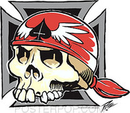 Pizz Iron Cross Skull Sticker Image