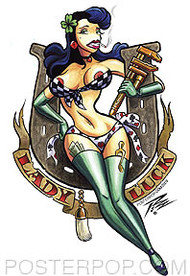 Pizz Lady Luck Sticker Image