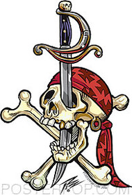 Pizz Pirate Skull Sticker Image