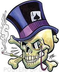 Pizz Top Hat Skull Sticker Image