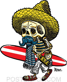 Kruse El Borracho Surfer Sticker by Poster Pop. Mexican Day of the Dead Posada Skeleton Surfer with Sombrero, Surfboard, and Serape.