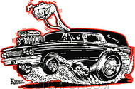 Kruse Hot Rod Hearse Sticker Image