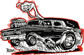 Artist Robert Kruse Hot Rod Hearse Car Sticker Decal by Poster Pop. Ed Roth 60's Hotrod Cadillac Hearse Coffin Hauler Monster Shifter, Skull Stick Shift Dragster Wheelie with Flames and Smoke.