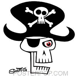 Shag Pirate Skull Sticker Image