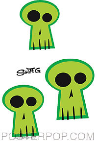 Shag Green Skulls Sticker Image