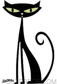 Shag Black Cat Sticker Image