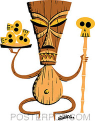 Shag Brown Tiki Sticker Image