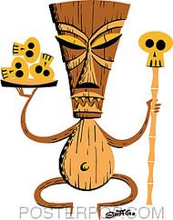 Shag Brown Tiki Sticker Image