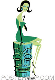 Shag Woman On Tiki Sticker Image