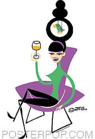 Shag Bird Chair Sticker Image