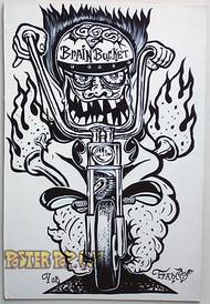 Von Franco Original Blackline and Colorup Drawing - Brain Bucket Image