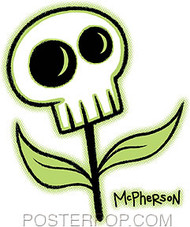 Tara McPherson Skull Flower Sticker Image