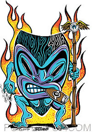 Von Franco Smokin Tiki Sticker Image