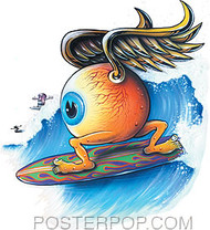 Von Franco Surfing Eyeball Sticker Image