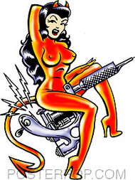 Vince Ray Tattoo Gun Girl Sticker Image
