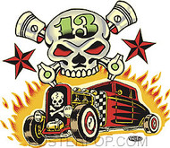 Vince Ray Skull n Rods Sticker Image