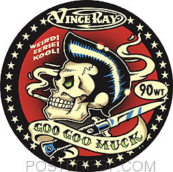 Artist Vince Ray Goo Goo Muck Car Sticker Decal by Poster Pop. Rockabilly Pomade Greaser, Biker Skull with Pompadour Greased Back Hair, Smoking Cigarette, and Switch Blade Knife. Red, Black and Tan.