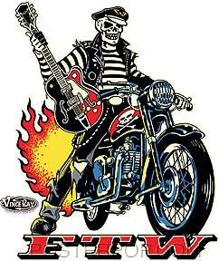 Vince Ray Biker FTW Sticker Image