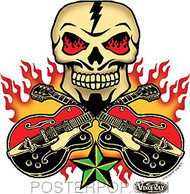 Vince Ray Skull n Guitars Sticker Image