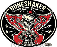 Vince Ray Boneshaker Oil Car Sticker Decal by Poster Pop. Rockabilly Skull with Crossed Guitars as Bones. Black, Red and Tan.