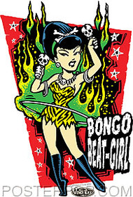 Vince Ray Bongo Beat Girl Sticker Image