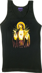 Almera Jesus Gold Woman's Baby Doll Tee and Boy Beater Tank Image