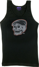 Artist Kruse Rodders Skull Woman's Baby Doll Tee and Ribbed Tank Top Image