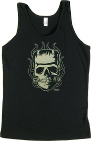 Kruse Franken-Skull Womans Baby Doll Tee and Ribbed Tank Top Image
