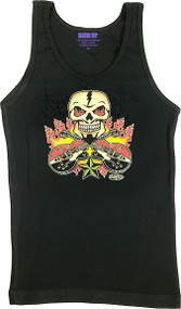 Vince Ray Skull n Guitars Womans Baby Doll Tee and Boy Beater Tank Image