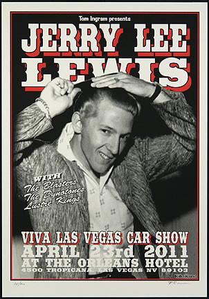 Rob Kruse Jerry Lee Lewis VLV14 Silkscreen Car Show Poster 2011 Image
