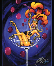 Pizz Burlesque Champagne Girl Hand Signed Calender Girl Print 8-1/2 x 10.5 Image