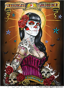 Artist Gustavo Rimada Strength Sacrifice Courage Car Sticker Decal by Poster Pop. Mexican Day of the Dead, Tattoo Design with Rockabilly, Skulls and Skeleton Face Paint