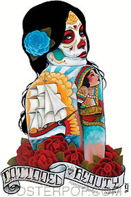 Artist Gustavo Rimada Tattooed Beauty Car Sticker Decal by Poster Pop. Beautiful Tattooed Day of the Dead, Sexy Girl with Face paint, Roses, Sailing Ship Tattoos.