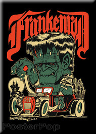 Von Strawn Franken-Rod Frankenstein Monster in a Hot Rod, Rat Rod, Fridge Magnet Image