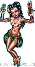 BigToe Lucky Hula Girl Sticker