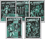 Vince Ray All 5 2011 Glow Silkscreen Posters: Judy Dragstrip, Killbot, Skeletina, Zoltarra & Zimballa Image