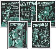 Vince Ray All 5 2011 Glow Silkscreen Posters: Judy Dragstrip, Killbot, Skeletina, Zoltarra & Zimballa Image