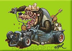 BigToe Hot Rod Bear Fridge Magnet Image Green