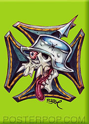 Artist BigToe Skull Cross Fridge Magnet Green