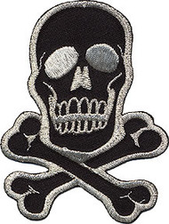 Skull Silver on Black Patch Medium 2.75