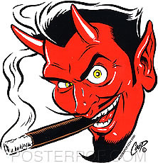 Coop Devil Head Sticker Image Left Facing