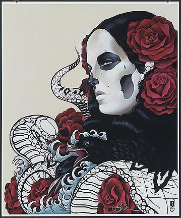 Gustavo Rimada Crow Roses Hand Signed Print Image